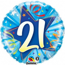 21st Birthday Shining Star Bright Blue Foil Balloon 18""